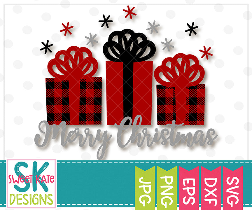 Buffalo Plaid Merry Christmas with Presents SVG DXF EPS PNG JPG - Sweet Kate Designs