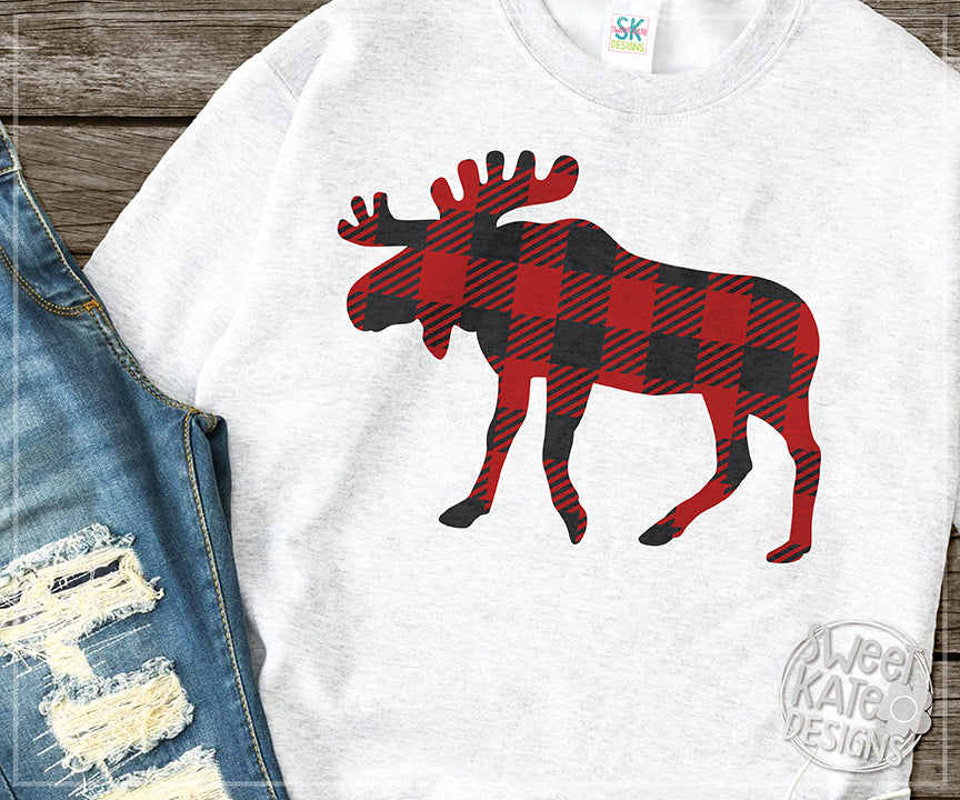 Buffalo Plaid Moose SVG DXF EPS PNG JPG - Sweet Kate Designs