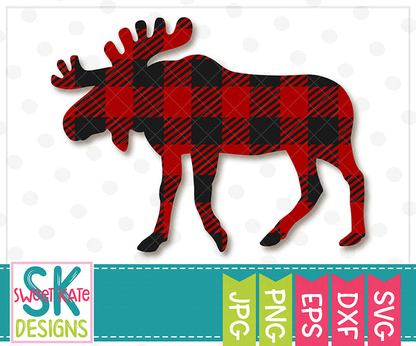 Buffalo Plaid Moose SVG DXF EPS PNG JPG