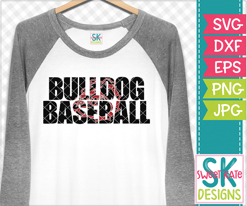 Bulldog Baseball with Knockout Bulldog Head SVG DXF EPS PNG JPG - Sweet Kate Designs