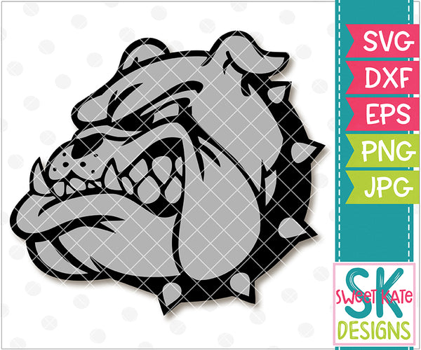 Bulldog Head SVG DXF EPS PNG JPG - Sweet Kate Designs