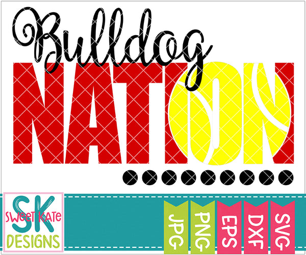 Bulldog Nation with Knockout Tennis Ball SVG DXF EPS PNG JPG - Sweet Kate Designs