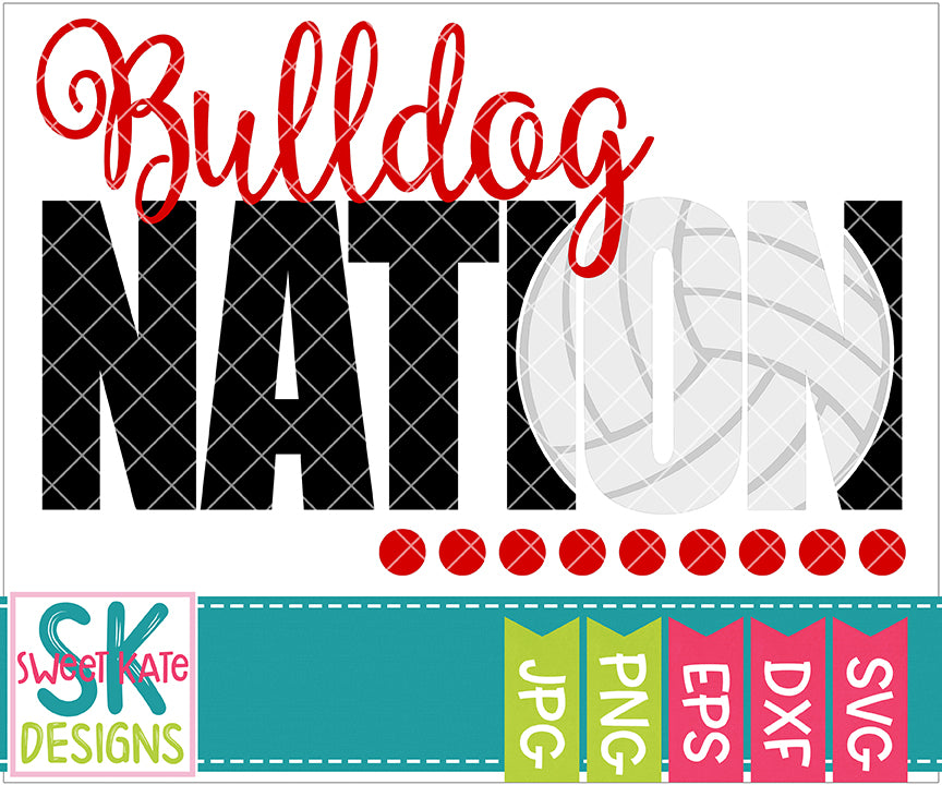 Bulldog Nation with Knockout Volleyball SVG DXF EPS PNG JPG - Sweet Kate Designs