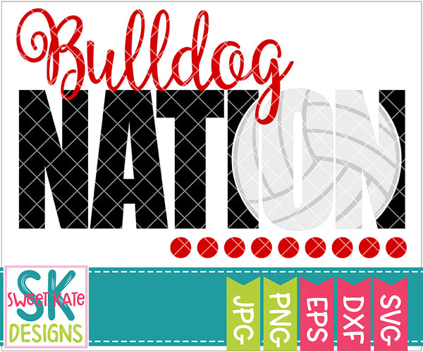 Bulldog Nation with Knockout Volleyball SVG DXF EPS PNG JPG