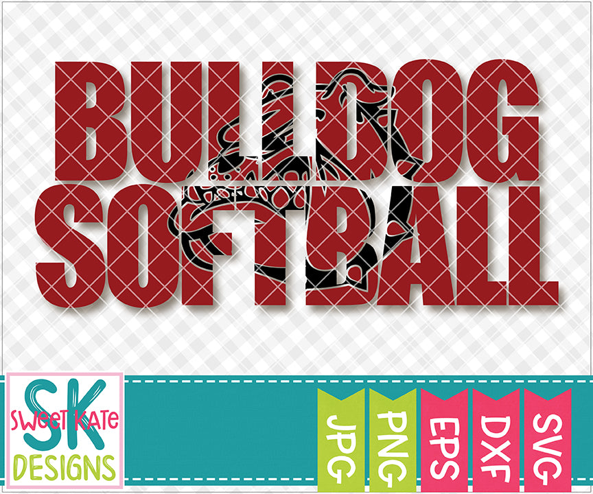 Bulldog Softball with Knockout Bulldog Head SVG DXF EPS PNG JPG - Sweet Kate Designs