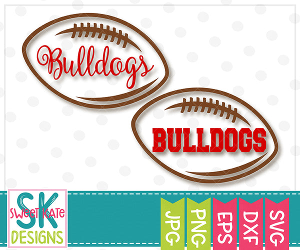 Bulldogs Football Outline SVG DXF EPS PNG JPG - Sweet Kate Designs