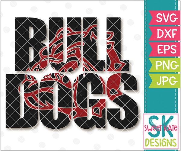 Bulldogs with Knockout Bulldog Head SVG DXF EPS PNG JPG - Sweet Kate Designs