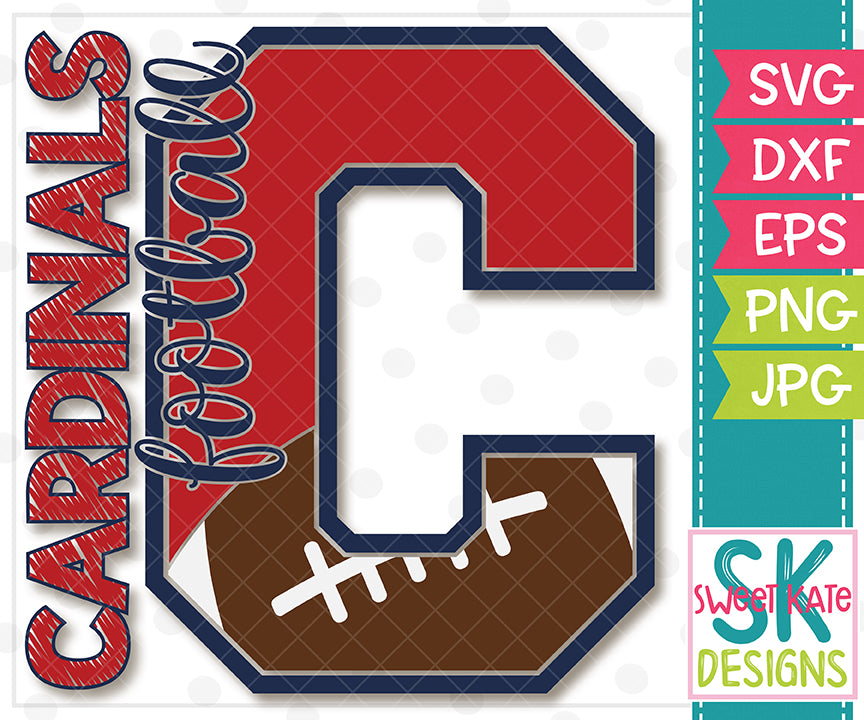 C Cardinals Football SVG DXF EPS PNG JPG - Sweet Kate Designs