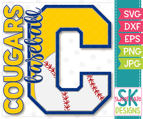 C Cougars Baseball SVG DXF EPS PNG JPG - Sweet Kate Designs