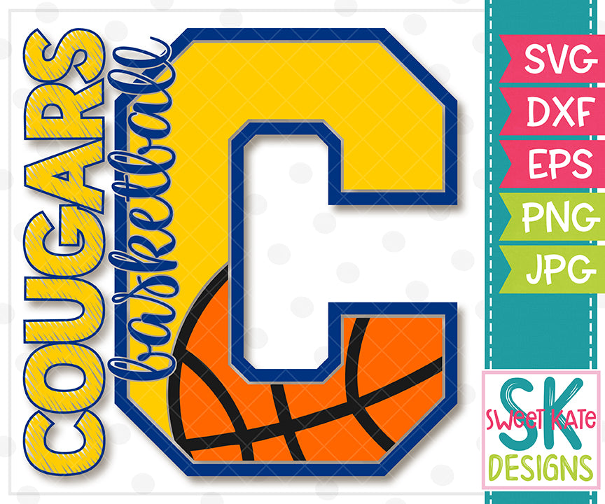 *NEW* C Cougars Basketball SVG DXF EPS PNG JPG - Sweet Kate Designs