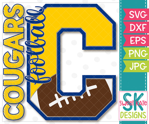 *NEW* C Cougars Football SVG DXF EPS PNG JPG - Sweet Kate Designs