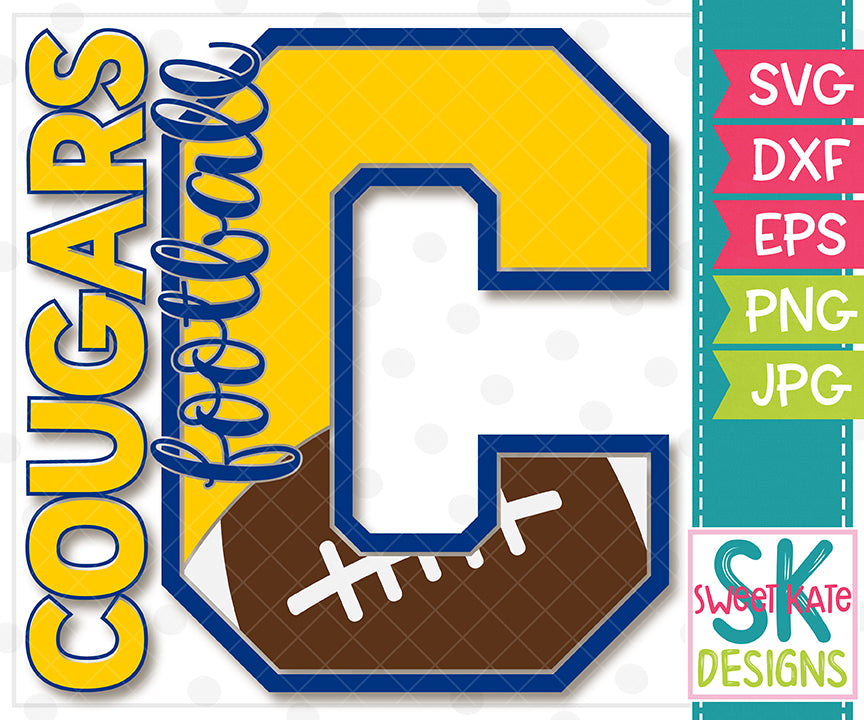 C Cougars Football SVG DXF EPS PNG JPG - Sweet Kate Designs