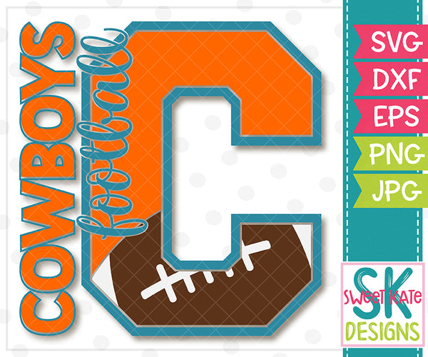*NEW* C Cowboys Football SVG DXF EPS PNG JPG - Sweet Kate Designs