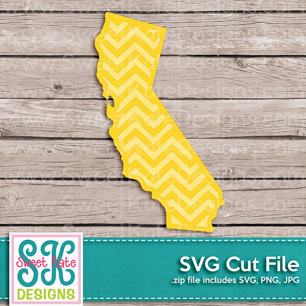 California with Chevron Pattern SVG - Sweet Kate Designs