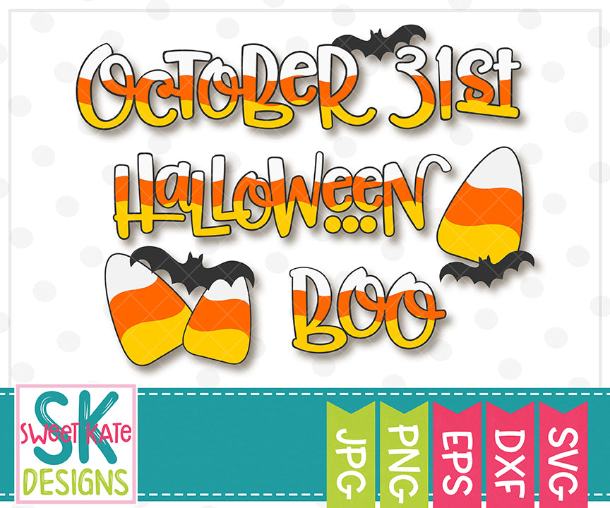 Candy Corn Halloween Words SVG DXF EPS PNG JPG - Sweet Kate Designs
