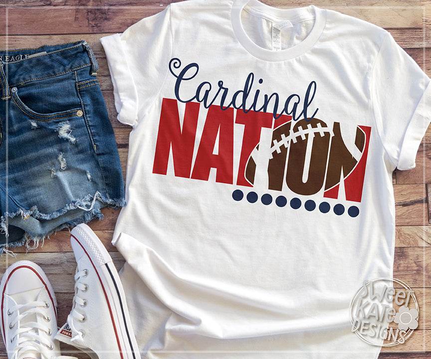 Cardinal Nation with Knockout Football SVG DXF EPS PNG JPG - Sweet Kate Designs