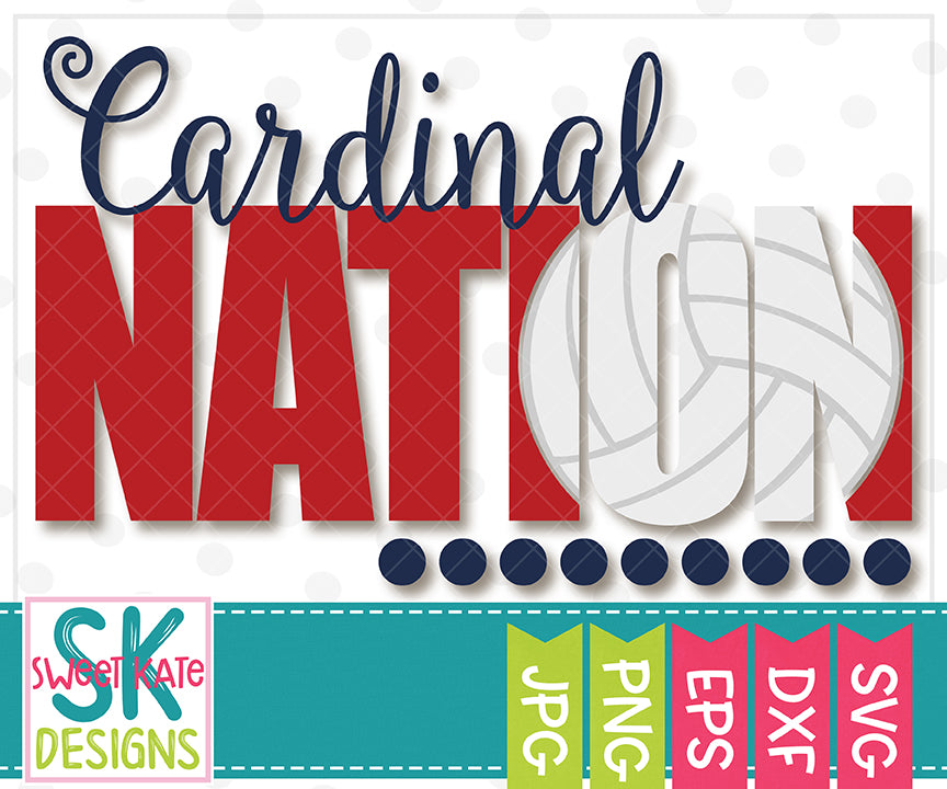 Cardinal Nation with Knockout Volleyball SVG DXF EPS PNG JPG - Sweet Kate Designs