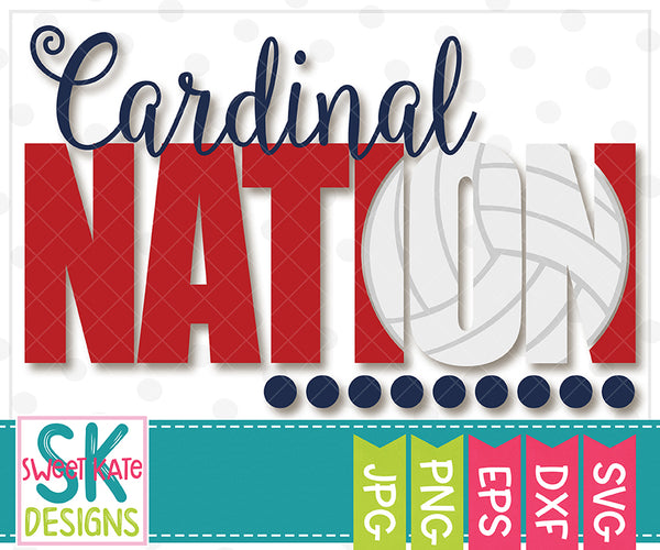 *NEW* Cardinal Nation with Knockout Volleyball SVG DXF EPS PNG JPG - Sweet Kate Designs