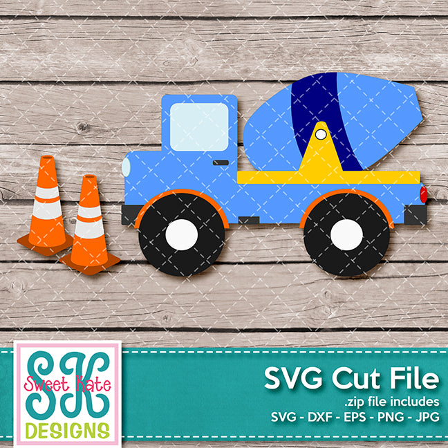 Cement Truck SVG DXF EPS PNG JPG - Sweet Kate Designs