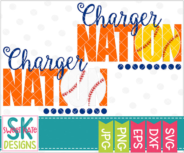 Charger Nation with Knockout Baseball or Softball SVG DXF EPS PNG JPG - Sweet Kate Designs