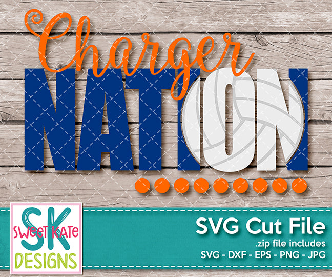 Charger Nation with Knockout Volleyball SVG DXF EPS PNG JPG - Sweet Kate Designs