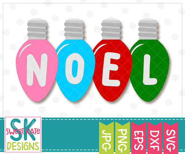 Christmas Light Bulbs Noel Joy Peace SVG DXF EPS PNG JPG - Sweet Kate Designs
