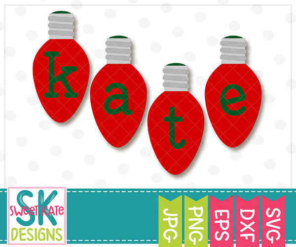 Christmas Light Bulbs Alpha Lowercase SVG DXF EPS PNG JPG - Sweet Kate Designs