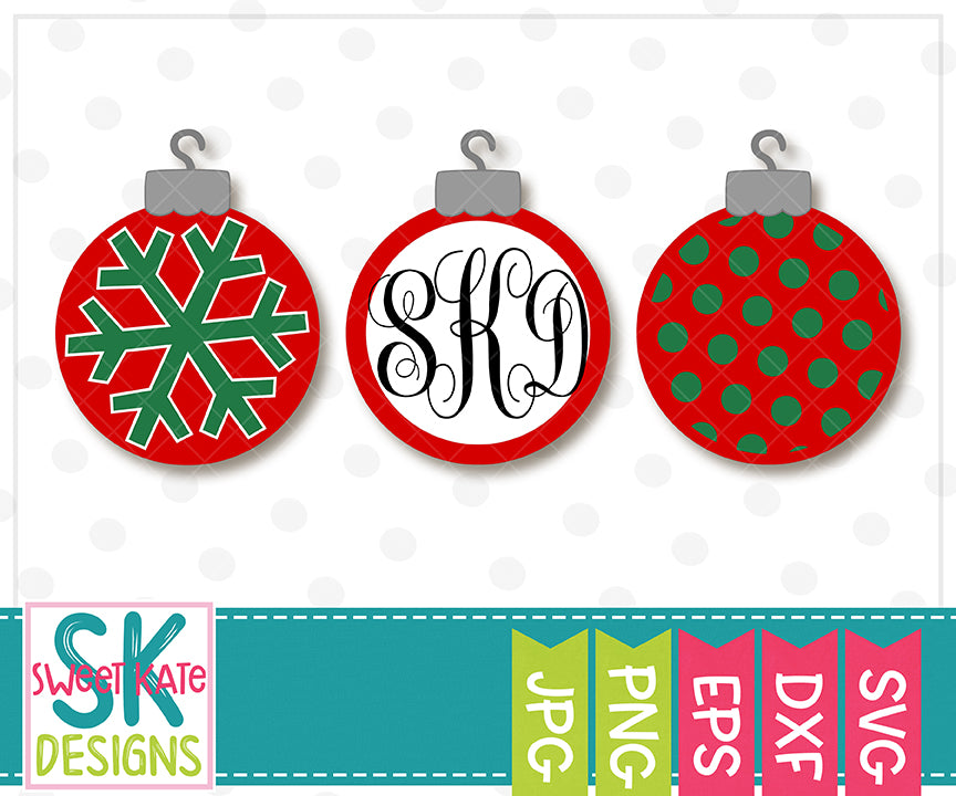 Christmas Ornaments SVG DXF EPS PNG JPG - Sweet Kate Designs