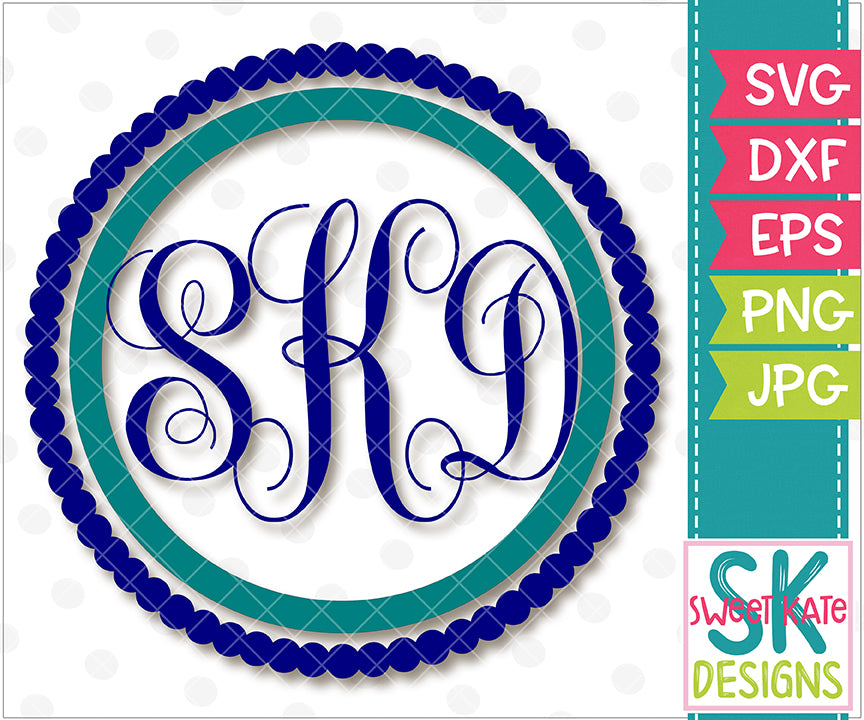 Circle and Scallop Monogram Frame SVG DXF EPS PNG JPG - Sweet Kate Designs