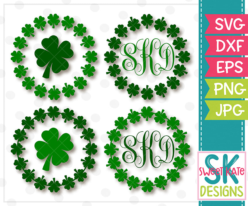 Clover Monogram Circles SVG DXF EPS PNG JPG - Sweet Kate Designs