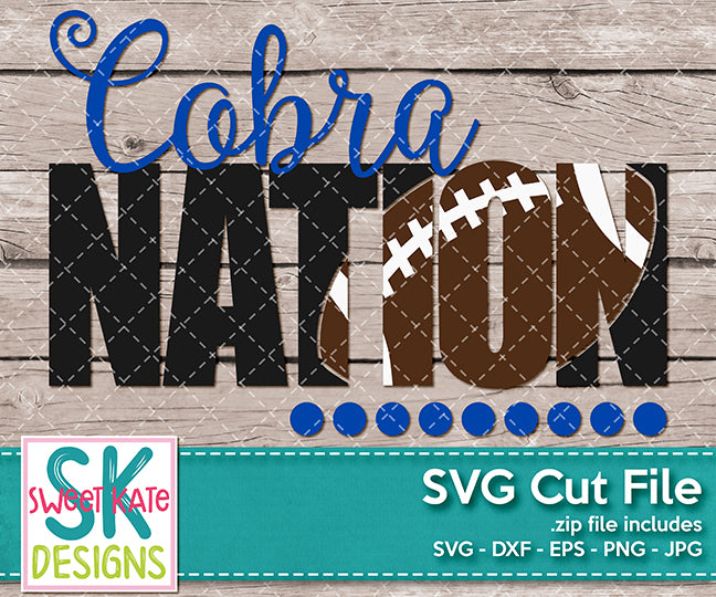 Cobra Nation with Knockout Football SVG DXF EPS PNG JPG - Sweet Kate Designs