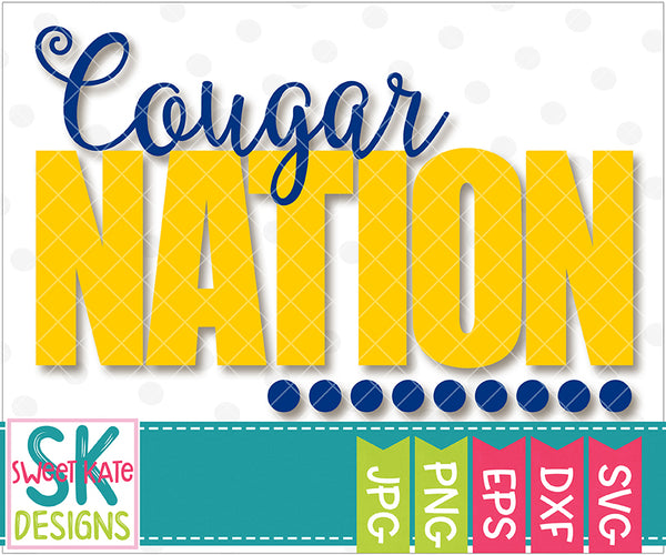 Cougar Nation SVG DXF EPS PNG JPG - Sweet Kate Designs