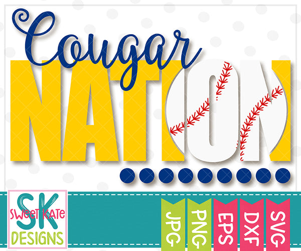 *NEW* Cougar Nation with Knockout Baseball or Softball SVG DXF EPS PNG JPG - Sweet Kate Designs