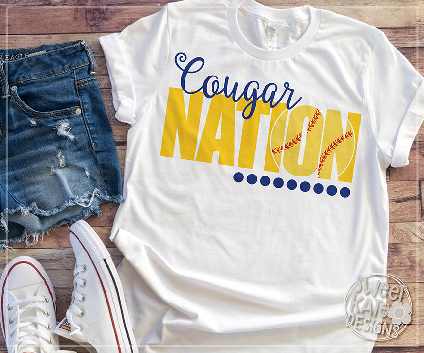 Cougar Nation with Knockout Baseball or Softball SVG DXF EPS PNG JPG - Sweet Kate Designs