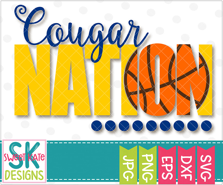 Cougar Nation with Knockout Basketball SVG DXF EPS PNG JPG - Sweet Kate Designs