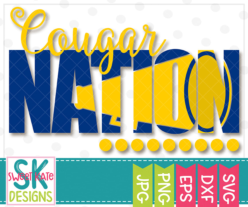 Cougar Nation with Knockout Cheer Megaphone SVG DXF EPS PNG JPG - Sweet Kate Designs