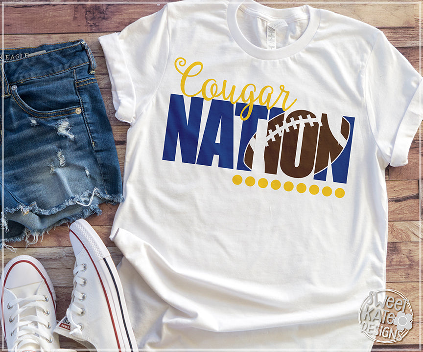 Cougar Nation with Knockout Football SVG DXF EPS PNG JPG - Sweet Kate Designs