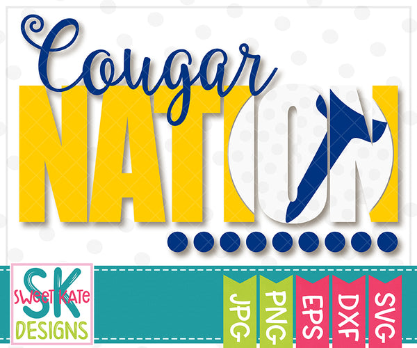 Cougar Nation with Knockout Golf Ball SVG DXF EPS PNG JPG - Sweet Kate Designs