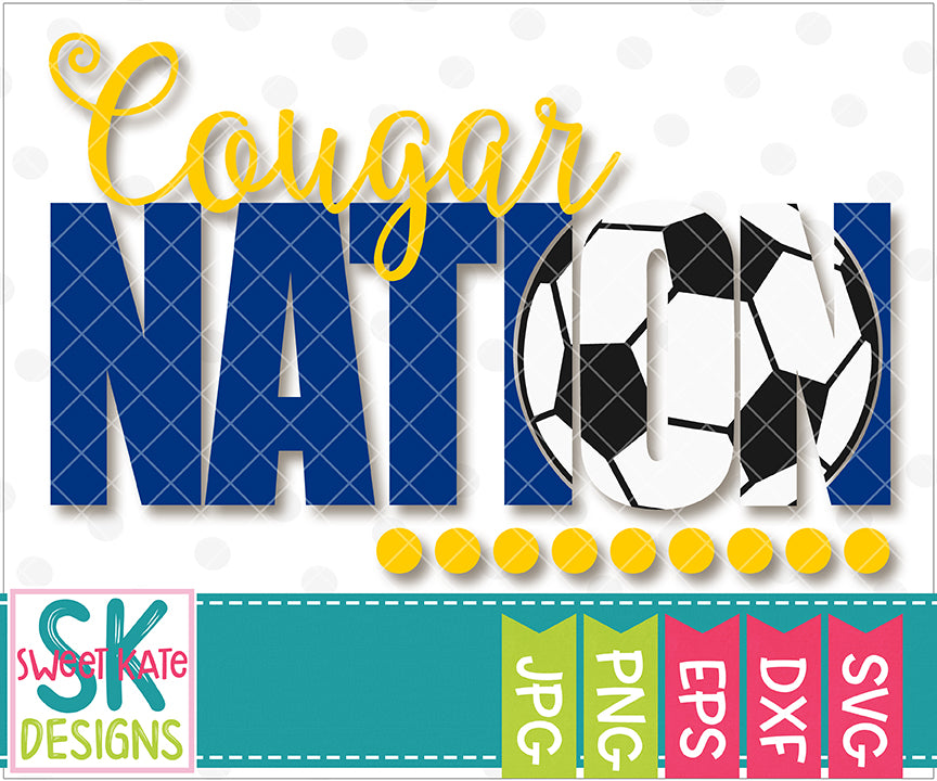 Cougar Nation with Knockout Soccer Ball SVG DXF EPS PNG JPG - Sweet Kate Designs
