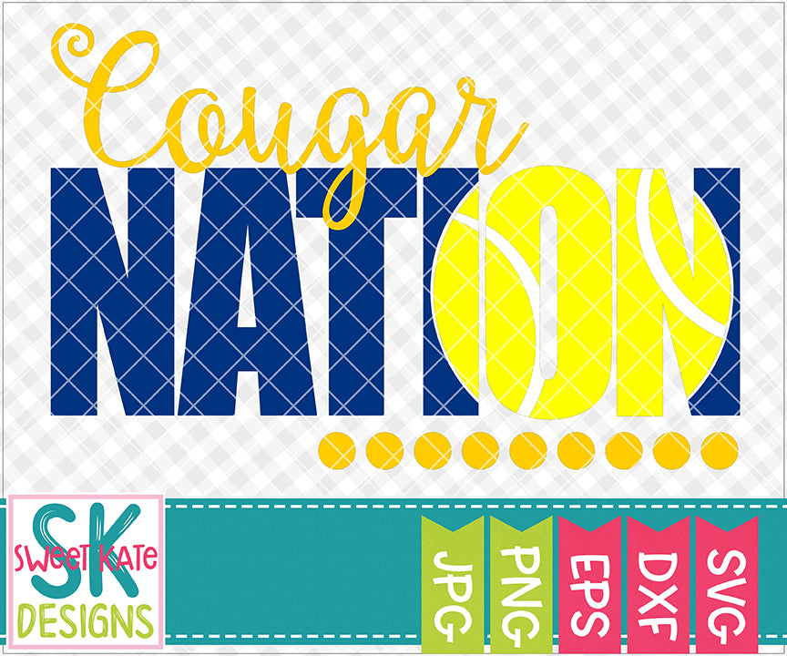 Cougar Nation with Knockout Tennis Ball SVG DXF EPS PNG JPG - Sweet Kate Designs