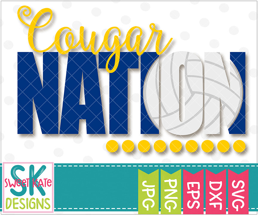 Cougar Nation with Knockout Volleyball SVG DXF EPS PNG JPG - Sweet Kate Designs