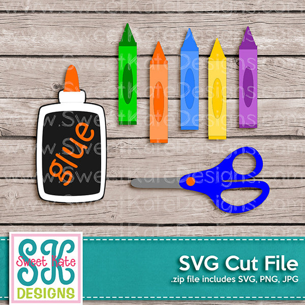 Crayons Glue Scissors SVG - Sweet Kate Designs