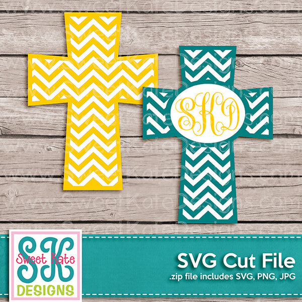Cross with Monogram Option Chevron SVG - Sweet Kate Designs