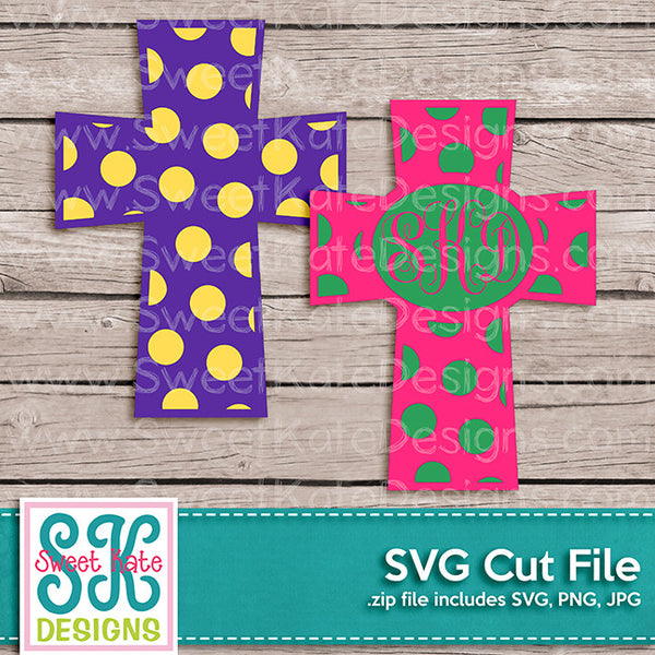 Cross with Monogram Option Polka Dot SVG - Sweet Kate Designs