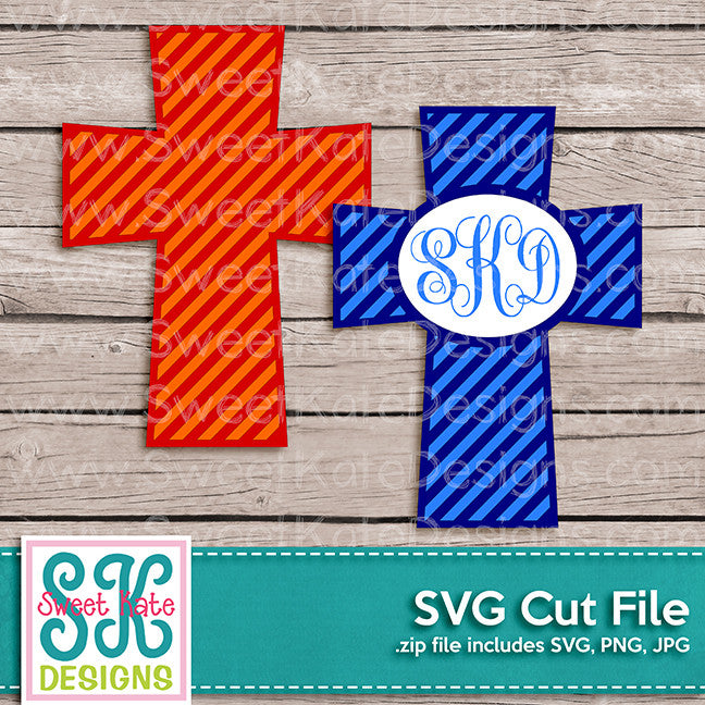 Cross with Monogram Option Stripe SVG - Sweet Kate Designs