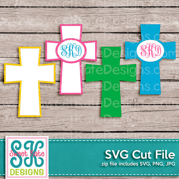 Crosses with Monogram Option SVG - Sweet Kate Designs