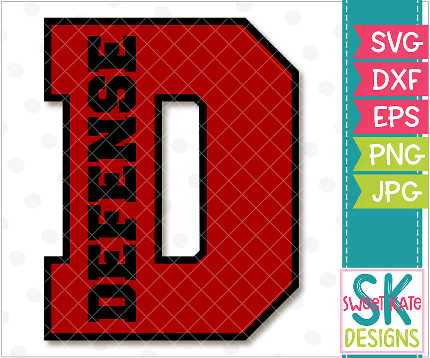 {D} Defense SVG DXF EPS PNG JPG - Sweet Kate Designs
