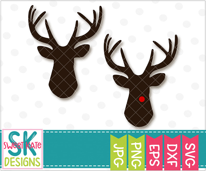 Deer Head SVG DXF EPS PNG JPG - Sweet Kate Designs