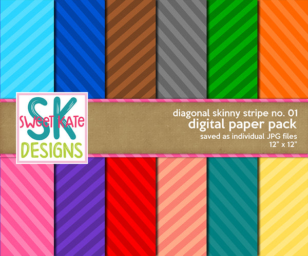 Diagonal Skinny Stripe No. 01 - Digital Paper Pack - Sweet Kate Designs