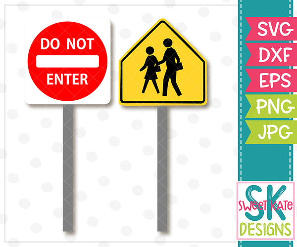 Do Not Enter & Pedestrian Road Signs SVG DXF EPS PNG JPG - Sweet Kate Designs